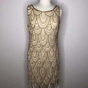 Pisarro Nights Gold Sequin Dress Sz 12